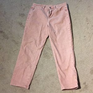 NWOT Pink Corduroy Mom Jeans